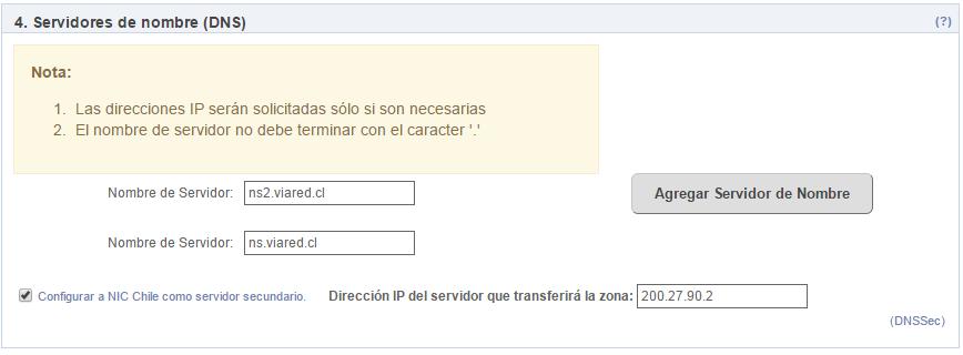 Configuracion de DNS en NIC Chile
